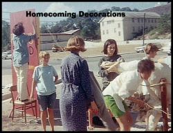 Building a Homecoming Display outside Sterry Hall